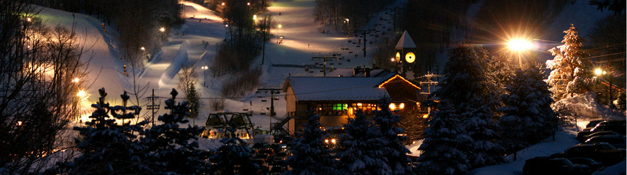 Ski Pennsylvania at night at Hidden Valley